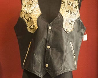 80's Vintage Leather and Python Man Vest