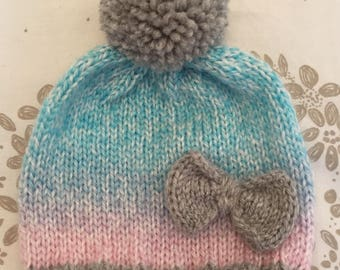 Hand knitted baby hat for new born