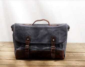 Waxed Canvas satchel bag./Waterproof shoulder bag/Heavy Duty Canvas Bag/Canvas Messenger Bag/Canvas Satchel Bag/Canvas Travel Bag/laptop bag