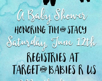 Baby Clothes Line Shower Invitation