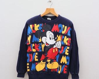 Vintage MICKEY MOUSE Walt Disney Cartoon Blue Pullover Sweater Sweatshirt