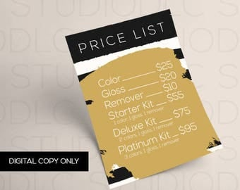 LipSense Price List - Black and Gold -  DIGITAL DOWNLOAD