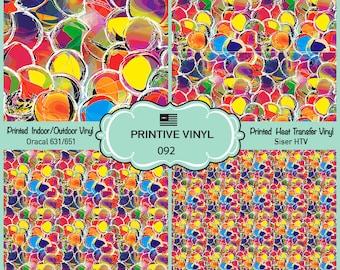 Rainbow Bubble Printed Pattern Vinyl/Siser HTV/ Oracal/ Indoor Vinyl/ Outdoor Vinyl/ Heat Transfer Vinyl- 092