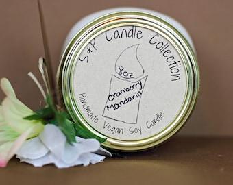 VEGAN Cranberry Mandarin 8oz Soy Candle (White)