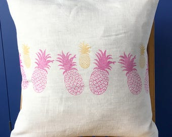 Pink Gold Pineapple Hand Printed Linen Cushion- Large Square Feather Cushion with Block Print Pineapples