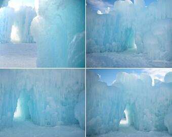 Bundle of 4 Digital Files of Ice Castle / Frozen Backdrop