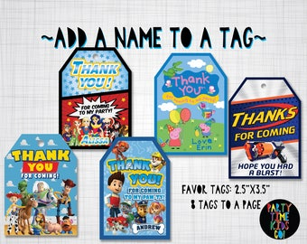 Favor Tags - Add a Name to an Existing Favor Tag Design from PartyTimeKidsCo - Digital File Supplied