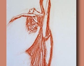 Long dress with red chalk sketch dancer