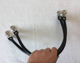 55cm Black Leather Purse Straps, Bag Handles Replacement, One Pair