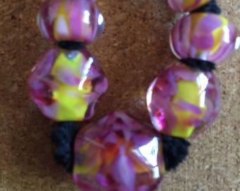 Bouquet OOAK Lampwork glass bead set MAG