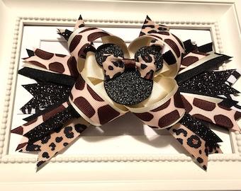 Layered Animal Print Bows