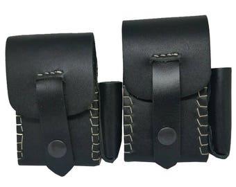Genuine Black Leather Cigarette Cases with Lighter Holder