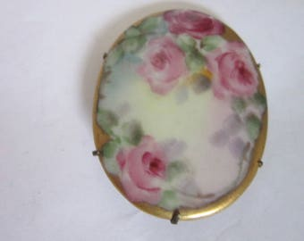 Antique Victorian Large Hand Painted Porcelain Brooch Floral Motif