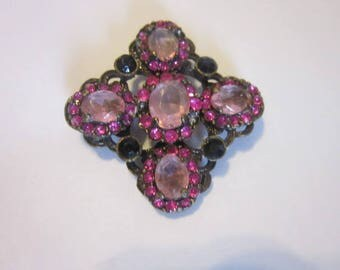 Vintage Pretty in Pink & Ruby Rhinestone Fancy Cluster Brooch