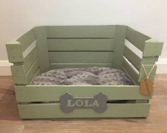 Green Wooden Apple Crate Dog/Small Pet Bed - Personalized Dog Bed/Shabby Chic/Rustic