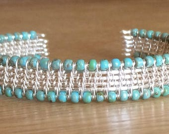 Eloise - Handmade wire-wrapped silver-plated and beaded bangle