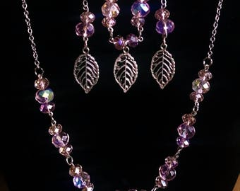 Pink Iridescent Silver Leaf Jewelry Set