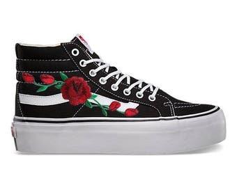 Custom Embodied Rose Black and White Platform Women's Old Skool Vans