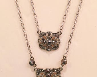 Mommy & me coordinating antique silver pendant necklace set featuring beautiful dark silver filigree pendants and black faceted beads