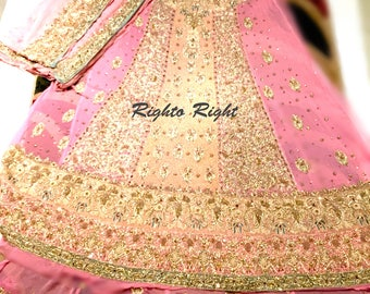 Pakistani Indian Bridal Wear Frock Maxi Gown Panels Anarkali Pretty Pink Custom Tailored Free Shipping