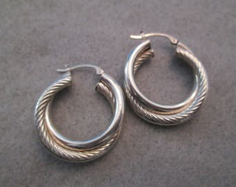 SALE>>>Lovely Solid Sterling Silver Twisted Hoop Earrings>> New old stock, never worn>> Pretty Design> Nice Smaller Size