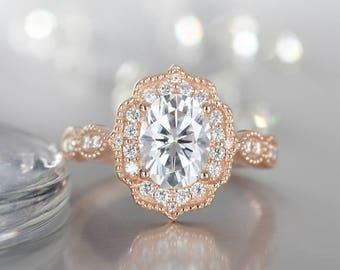 Oval Moissanite engagement ring vintage 14K Rose gold Alternative Halo diamond wedding Women Half eternity Flower Antique Milgrain Promise