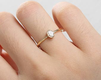 Minimalist Engagement Ring bezel set 14k gold Simple engagement ring Diamond Wedding Solitaire Delicate Women Oval Cut Promise Anniversary
