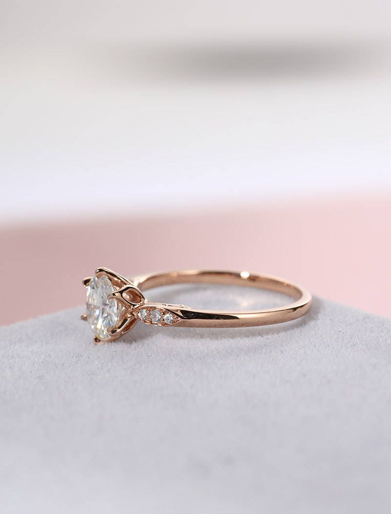 Antique Moissanite engagement ring Rose Gold Vintage Diamond wedding ...