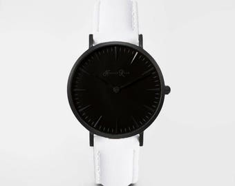 Ladies Watch, Women Leather bracelet, minimalist, gift for her, cheap leather watch, Christmas Watch, White Leather (Black/Black)