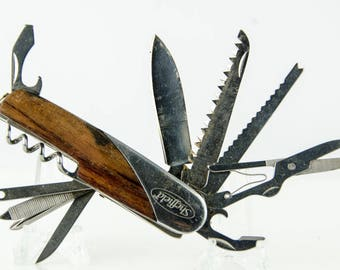 Large Sheffield Wood Handle Multi Tool Folding Pocket Knife