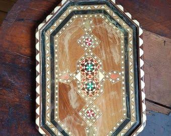 Vintage Spanish taracea tray,marquetry,inlay