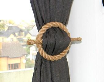Circle Curtain Tie Backs..Jute Rope Drapery Holdbacks..Curtain Holder Tieback..