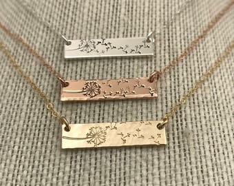 Dandelion Necklace with Horizontal Bar Pendant and Hand Stamped Dandelion in Sterling Silver, 14k Gold Filled or 14k Rose Gold Filled