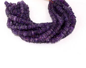 """Natural Purple Amethyst Square Shape Heishi Beads 5-6mm 15"""" Long Strands,Smooth Beads,Natural Amethyst,Jewelry Supplies,Blue Amethyst Stone"""
