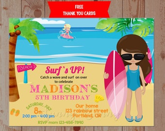 Surfing birthday invitation Beach invitation Surfboard birthday party invite for girl Summer birthday outfit Hawaiian thank you tag Surfs up