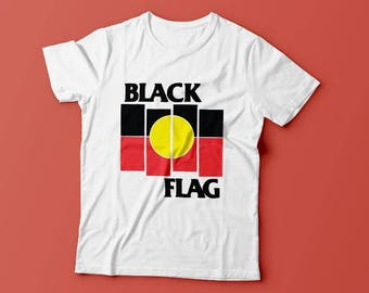 Black Flag X Aboriginal Flag T Shirt (white shirt)