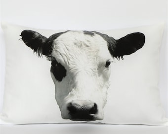 Black and White Cow Photograph Pillow