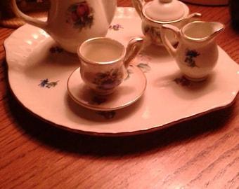 MAD Hatter teaparty decor. 24k GOLD trimmed vintage porcelain miniature teaset. ANTIQUE toy tea set. Mini porcelain tea set. Vintage tea set