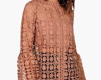 Emily High Neck Bell Sleeve Lace Top