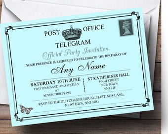 Vintage Telegram Elegant Aqua Personalised Birthday Party Invitations