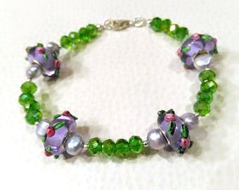 Sterling Silver, Crystal and Lampwork Floral Beaded Bracelet