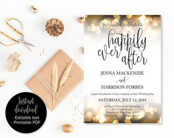 Wedding Invitation Template, Gold Hearts Wedding Invitations, Wedding Invite Template, Wedding Invite Printable, Happily Ever After INV-12