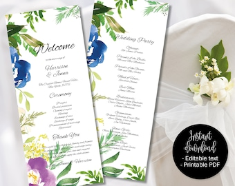 Wedding Day Program Template, Printable Wedding Program, Wedding Order of Service Text Editable PDF, Watercolor Floral Border 5 PROG-5