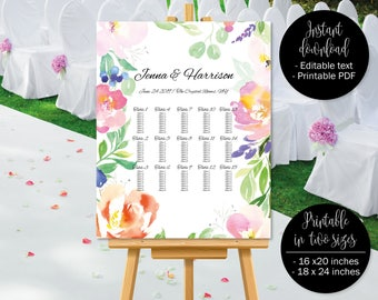 Wedding Seating Chart Printable, Stylish Floral Watercolor Wedding Seat Plan Template, Wedding Table Plan Seating Chart, Border 4 SEATING-4