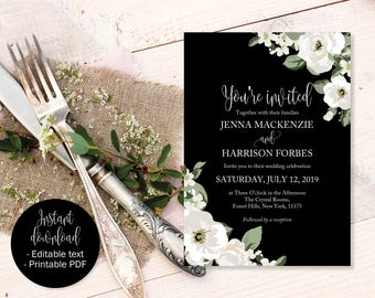 Black White And Green Wedding Invitation, Wedding Invite Printable, Wedding Template Download PDF, Invitations Wedding, Editable Wedding