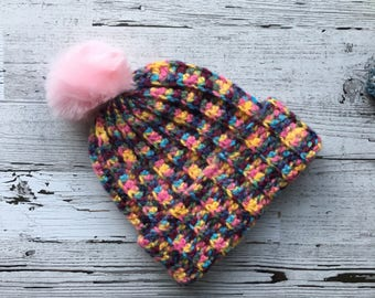 FREE SHIPPING Multi-Colored Beanie with Pink Faux Fur PomPom
