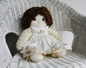 Sweet Handmade Country Style Soft Sculpture Freckled Doll with Pinafore Dress and Knickers