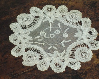 Antique French Net Lace Doily with Hand Made Lace Vintage Fine Lace Doily 1920s