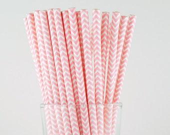 Pink Chevron Paper Straws - Mason Jar Straws - Party Decor Supply - Cake Pop Sticks - Party Favor