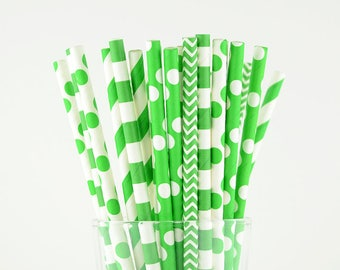 Green Paper Straw Mix - Striped/ Polka Dots/ Circle/ Chevron - Party Decor Supply - Cake Pop Sticks - Party Favor